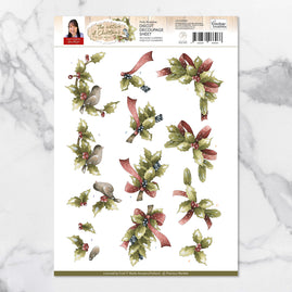 3D Diecut Decoupage Set - Precious Marieke Nature of Christmas Holly Branches SB10184