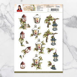 3D Diecut Decoupage Set - Precious Marieke Nature of Christmas Lanterns A4 Sheet
