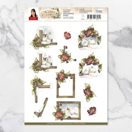 3D Diecut Decoupage Set - Precious Marieke Nature of Christmas Winter Frames A4 Sheet