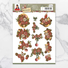 3D Diecut Decoupage Set - Yvonne Creations Celebrating Christmas Rose Bouquet A4 Sheet