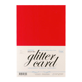 A4 Glitter Card 10 sheets per pack 250gsm - Bright Red