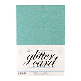 A4 Glitter Card 10 sheets per pack 250gsm - Mint / Aqua