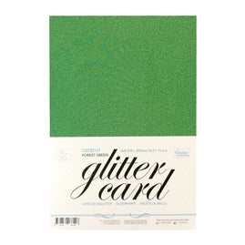 A4 Glitter Card 10 sheets per pack 250gsm - Forest Green