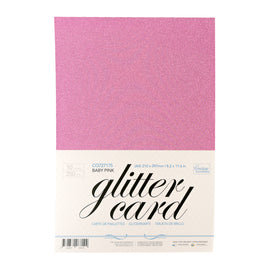 A4 Glitter Card 10 sheets per pack 250gsm - Baby Pink