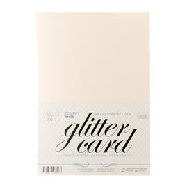 A4 Glitter Card 10 sheets per pack 250gsm - White