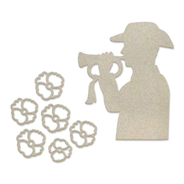 Chipboard - Lest We Forget - Last Post Set (7pc) - 80 x 80mm | 3.1 x 3.1in