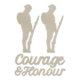 Chipboard - Lest We Forget - Courage and Honour Set (5pc) - 80 x 80mm | 3.1 x 3.1in