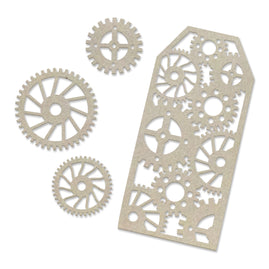 Chipboard - Steampunk Dreams - Tag and Gears Set (4pc) - 103 x 119mm | 4 x 4.6in