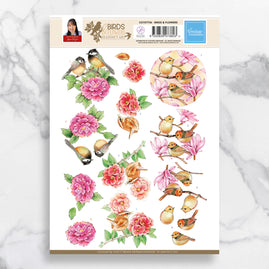 3D Diecut Decoupage A4 Sheet - Birds & Flowers - Jeanine's Art