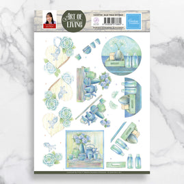 3D Diecut Decoupage A4 Sheet - Blue Table Settings - Jeanine's Art