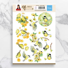 3D Diecut Decoupage A4 Sheet - Yellow Birds - Jeanine's Art