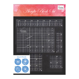 *Acrylic Block Set with grid lines (5 pc / 8mm deep)