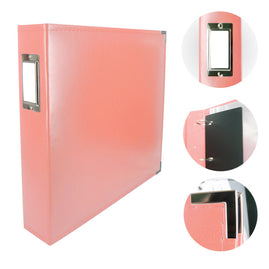 Album - Classic Superior Leather D-Ring Album - Coral Pink