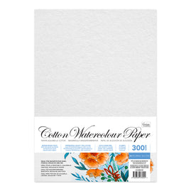 Paper - Cotton Watercolour Paper (300gsm - 10 Sheets) (210 x 297mm | 8.2 x 11.6in )