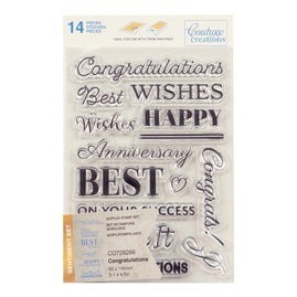 Stamp Set - Congratulations Sentiment (14pc) - 80 x 116mm | 3.1 x 4.5in