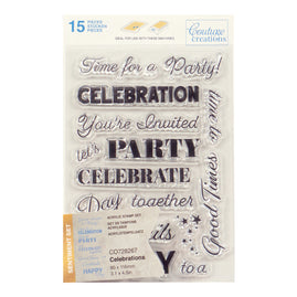 Stamp Set - Celebrations Sentiment (15pc) - 80 x 116mm | 3.1 x 4.5in