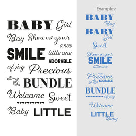 Stamp Set - Bundle of Joy Sentiment (17pc) - 80 x 116mm | 3.1 x 4.5in