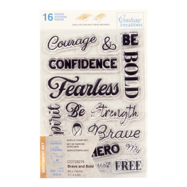Stamp Set - Brave and Bold Sentiment (16pc) - 80 x 116mm | 3.1 x 4.5in