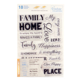 Stamp Set - My Family Sentiment (18pc) - 80 x 116mm | 3.1 x 4.5in