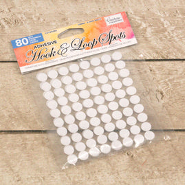 Adhesive Hook and Loop Spots - White (80pc)