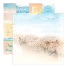 Paper - 12 x 12in Double Sided - Seaside Girl Sheet 6 - 200gsm - 5pc