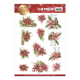 A4 Decoupage Sheet - Precious Marieke - Merry and Bright Christmas - Poinsettia in red