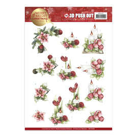 A4 Decoupage Sheet - Precious Marieke - Merry and Bright Christmas - Candles in red