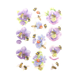 3D Diecut Decoupage Pushout Kit - Jeanines Art - Buzzing Bees - Purple Flowers