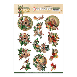 A4 Decoupage Sheet - Amy Design - Christmas in Gold - Birds in Gold