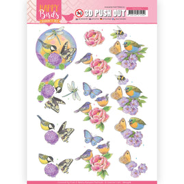 3D Pushout - Jeanine's Art - Happy Birds - Fragrant flowers