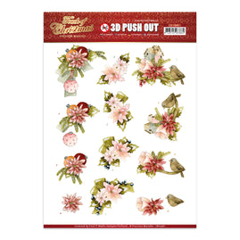 A4 Decoupage Sheet - Precious Marieke - A Touch Of Christmas - Pink Flowers