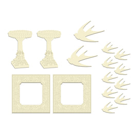 Wood Shapes - Rambling Rose Set (birds, bird bath, frame)