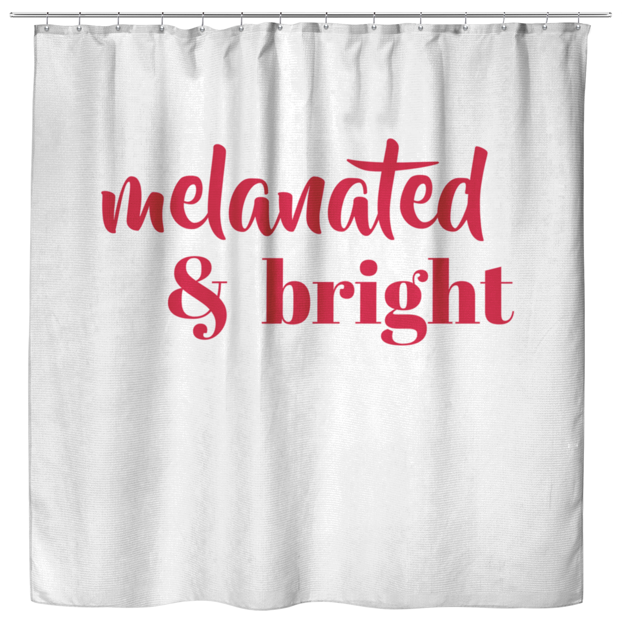 Melanated & Bright Holiday Shower Curtain White/Red - apparel for families of color | black owned business