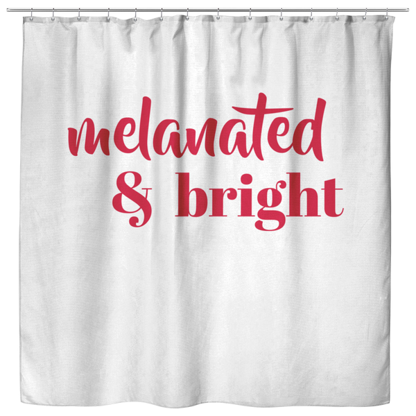 Melanated & Bright Holiday Shower Curtain White/Red