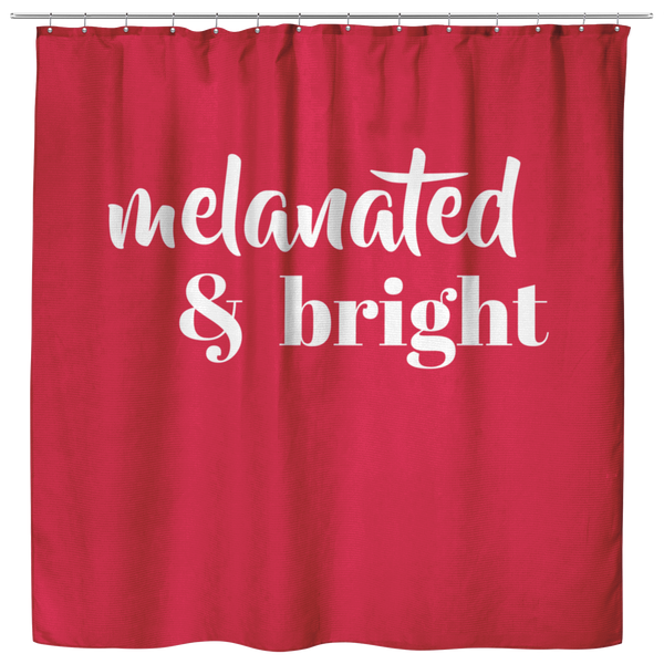 Melanated & Bright Holiday Shower Curtain Red/White - apparel for families of color | black owned business