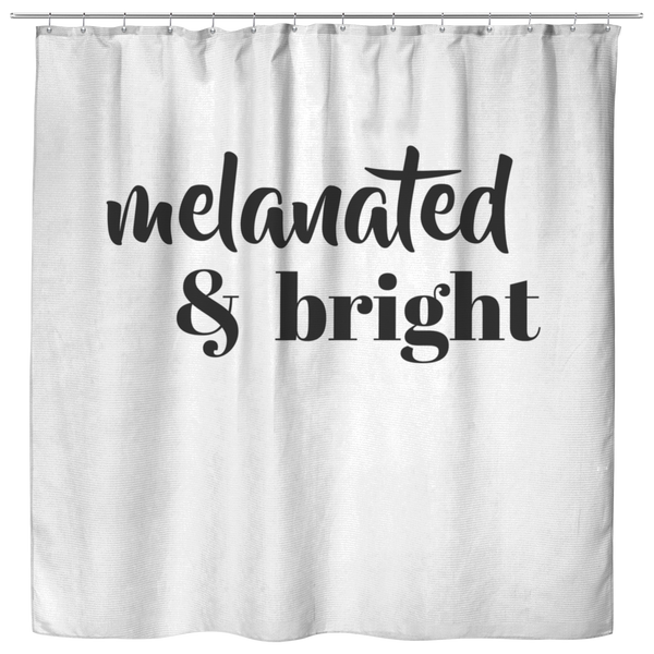 Melanated & Bright Holiday Shower Curtain White/Black - apparel for families of color | black owned business