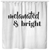 Melanated & Bright Holiday Shower Curtain White/Black