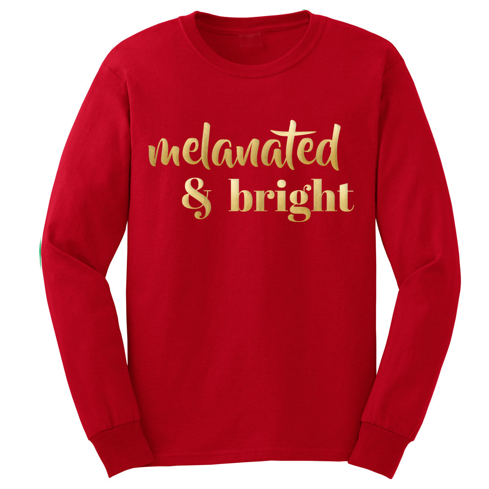 Melanated & Bright Holiday Long Tee • Red/Gold • Adult