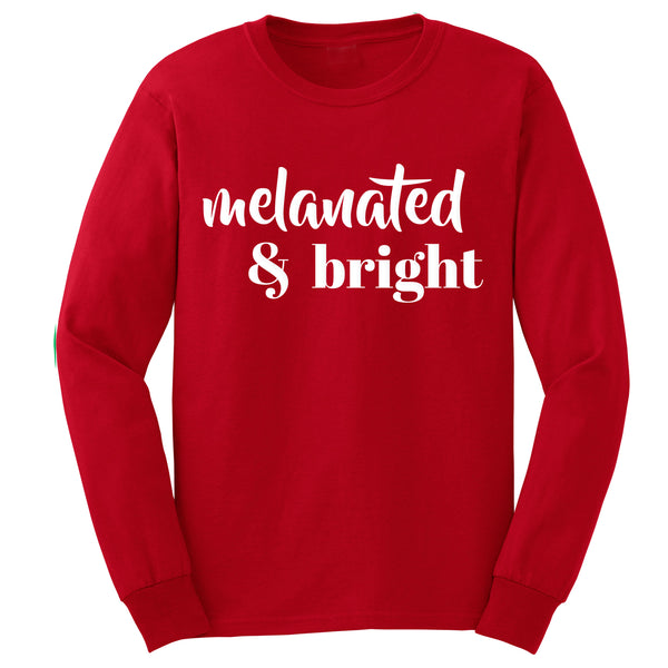 Melanated & Bright Holiday Long Tee • Red/White • Adult