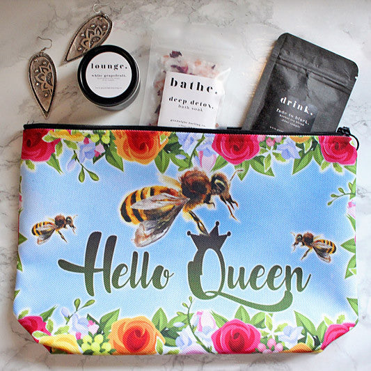 Queen Bee Garden Cosmetic Bag - boho women, boho kids