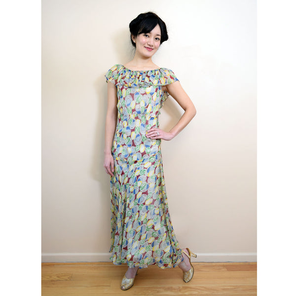 Vintage 1930s Deco Print Maxi Dress - Sweet Disorder Vintage