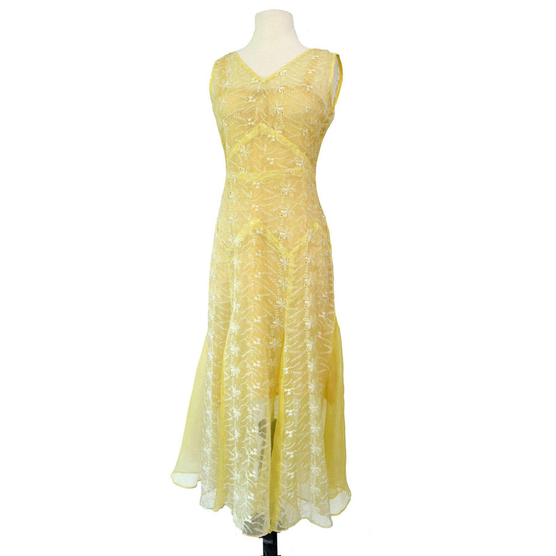 Vintage 1930s Embroidered Organza Dress - Sweet Disorder Vintage