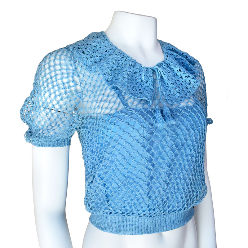 1930s Sky Blue Hand Crocheted Top - Sweet Disorder Vintage