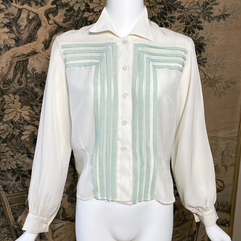 1940s Deco Embroidered Blouse