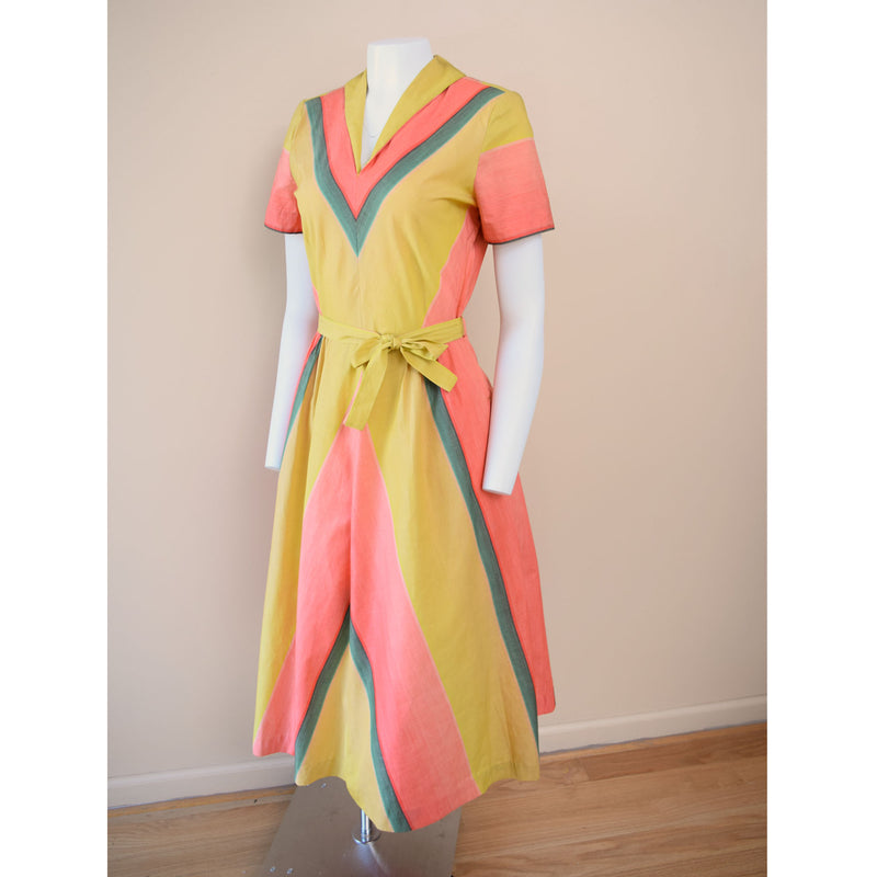 1940s Ombre Colorblock Dress - Sweet Disorder Vintage