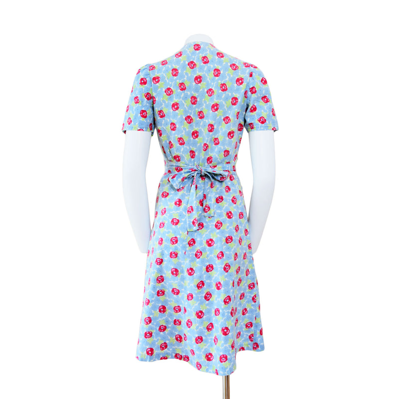 1940s Red & Blue Cotton Day Dress - Sweet Disorder Vintage