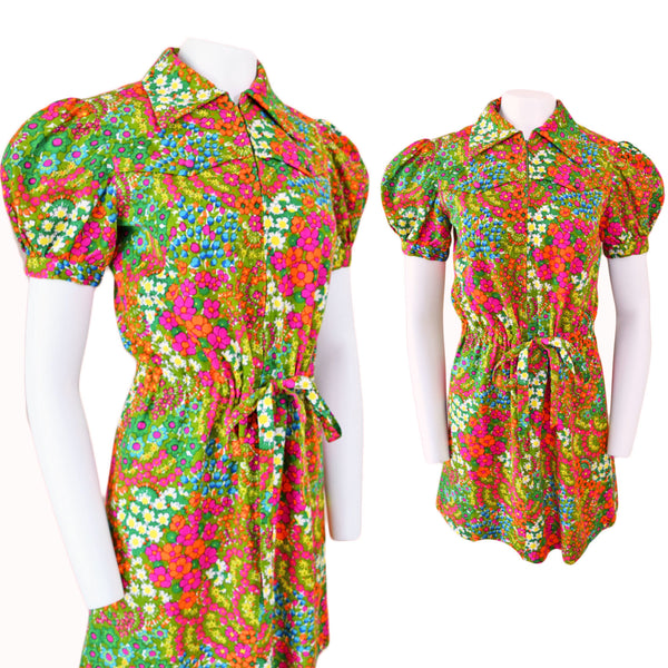1970s Handmade Floral Mini Dress - Sweet Disorder Vintage