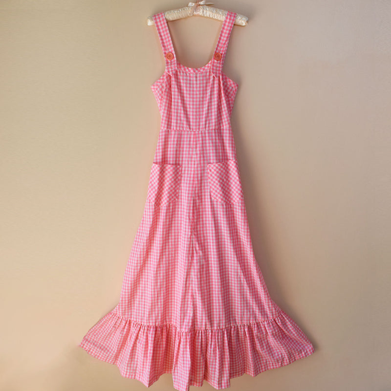 1970s Gingham Maxi Dress - Sweet Disorder Vintage