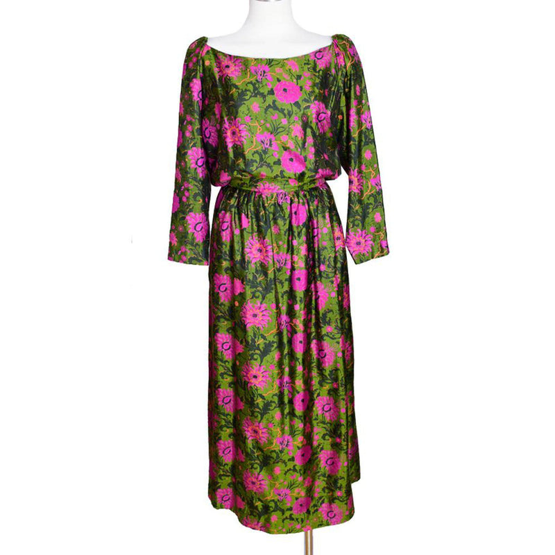 Vintage 1970s Painted Silk Maxi Dress - Sweet Disorder Vintage