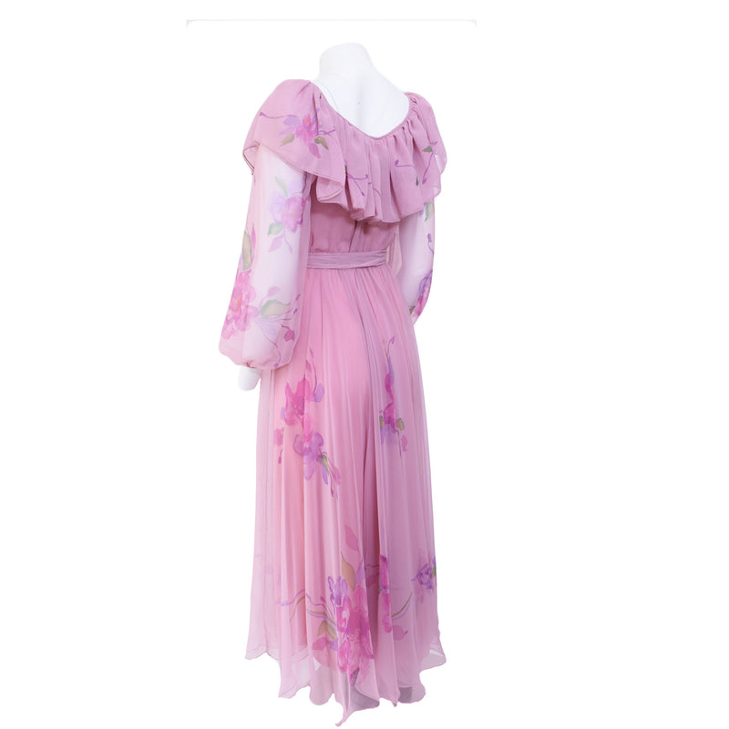 1970s Watercolor Ruffled Maxi Dress - Sweet Disorder Vintage